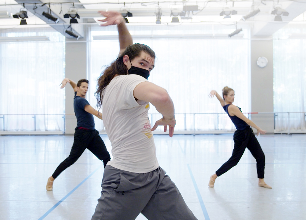 Jera Wolfe in rehearsal with Guillaume Côté and Heather Ogden